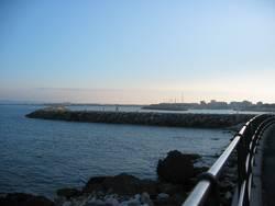 Blick zur Hafenmauer