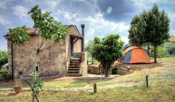 Tent on a farm in Tuscany, Italy