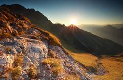 sunrise in rocky Alps, Bavaria, Germany