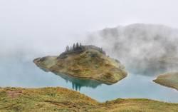 alpine lake in dense fog, Bavaria, Germany