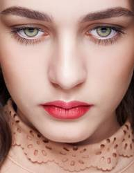 Closeup shot of female face with day makeup