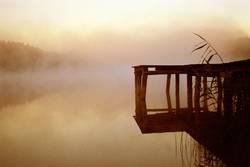 See Steg Nebel Wasser