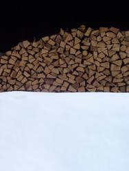 Winter-Bild: Holz und Schnee