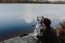 Hund Dalmatiner sitzt mit Mann Herrchen am See