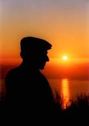 Schäfer bei Sonnenuntergang