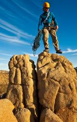 Rock climber on the summit.