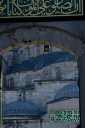 Closeup picture of Blue Mosque entrance and domes