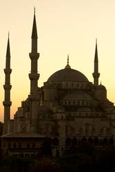 Blue Mosque in Istanbul's sunset scene - vertical