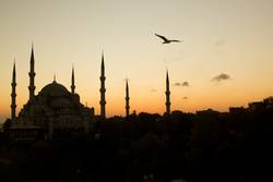 The Beautiful Blue Mosque in Istanbul in sunset scene