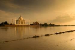 Taj Mahal in sunset scene
