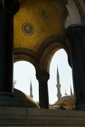 Blue Mosque Minaret framed inside smaller mosque