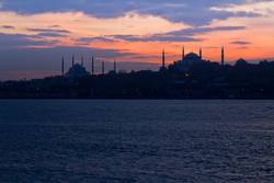 Panoramic picture of Blue Mosque and Hagia Sophia sunset