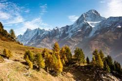 Bietschorn mountain peak in autumn