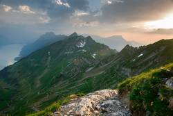 Panoramic mountain view from Brienzer Rothorn at Sunset