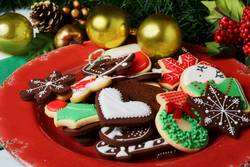 Christmas cookies with festive decoration. Christmas concept.