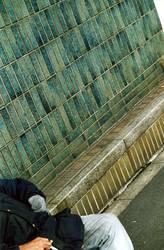 Rauchender Obdachloser in Tokio, Japan