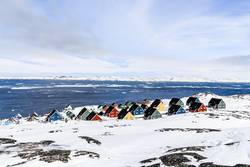 Colorful inuit houses in a suburb of arctic capital Nuuk