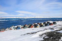 Rows of colorful Inuit houses, Nuuk Greenland