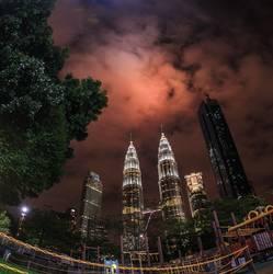 The skyline over the Twin Petronas Towers.