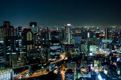 Skyline of Osaka City in Japan at night