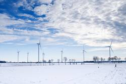 blue winter windmill park