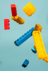 Floating Plastic geometric cubes in the air. Construction toys