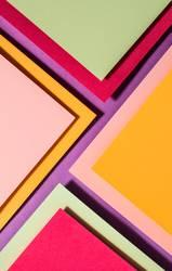 Vibrant colors palette paper design. Geometric shapes.