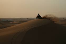 Motorcycle on sand dune