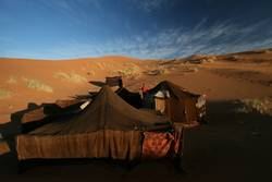 Camp in Sahara desert in Morocco