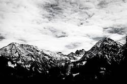 Snowcapped mountains in black and white