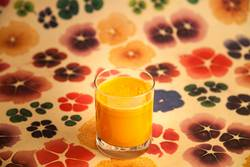 Carrot Juice with colorful Background