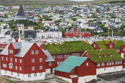 Panorama view to the city of Torshavn on Faroer islands denmark