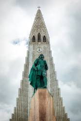 statue of Lief Erikson in front of Hallgrimskirkja in reykjavik