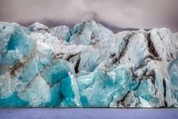 blue glacier structure at the lagoon fjallsarlon on iceland