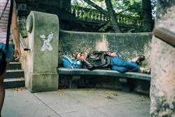 cool leather jacket traveler sleeping