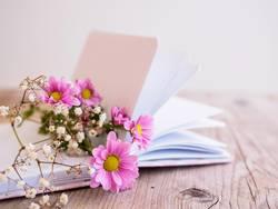 Frühlingsblumen auf einem Buch