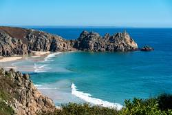 Granite cliffs and beach of Porthcurno, Cornwall