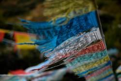 worn tibetan flags in the wind