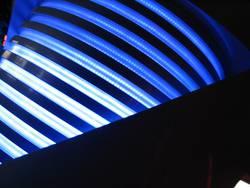 Blaue Lichtstangen