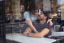 Couple in a coffe shop