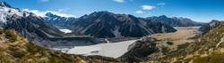 Hooker Valley und Geltschersee im Mount Cook Nationalpark