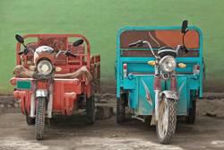 Red-blue trikes. Livestock Market area-Hotan-Xinjiang-China-0184