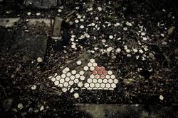 Wandfliese am Boden zerstört