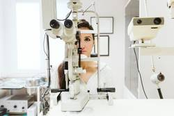 young woman sitting at Ophthalmologist