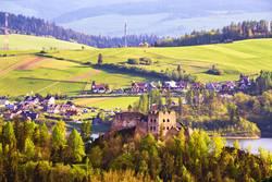 Czorsztyn castle behind Tatra Mountains, Pieniny range