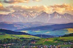 Spring sunset in Tatra Mountains, Pieniny range