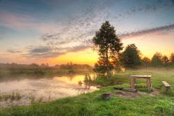 Place for picnic. Autumn dawn scene panorama