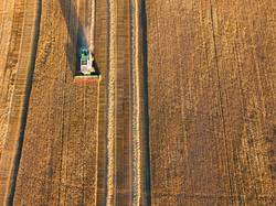 Combine machine harvesting agriculture wheat field