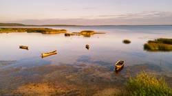 View of boats parking on shallow water. Braslav