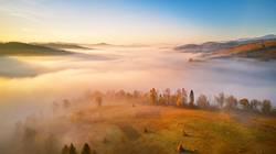panorama of beautiful autumn mountains.